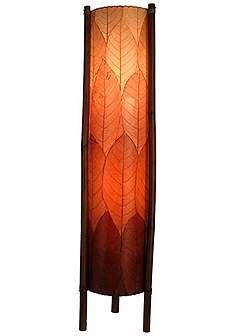 Eangee Hue Series Burgundy Cocoa Leaves Tower Floor Lamp Brown