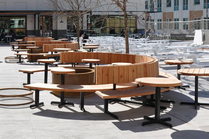 Facebook outdoor benches and firepit #millwork #office #furniture ...