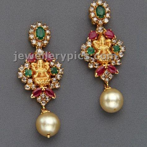 2 Lakshmi devi earrings with polki by Mangatrai jewelelrs Latest