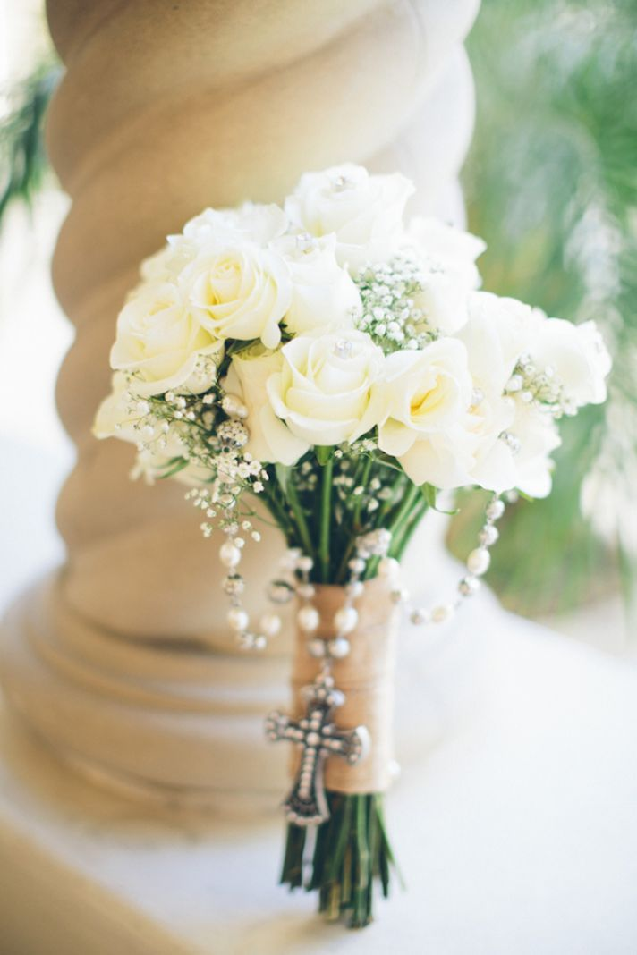 Bridal Bouquet Of White Roses And Babys Breath With A