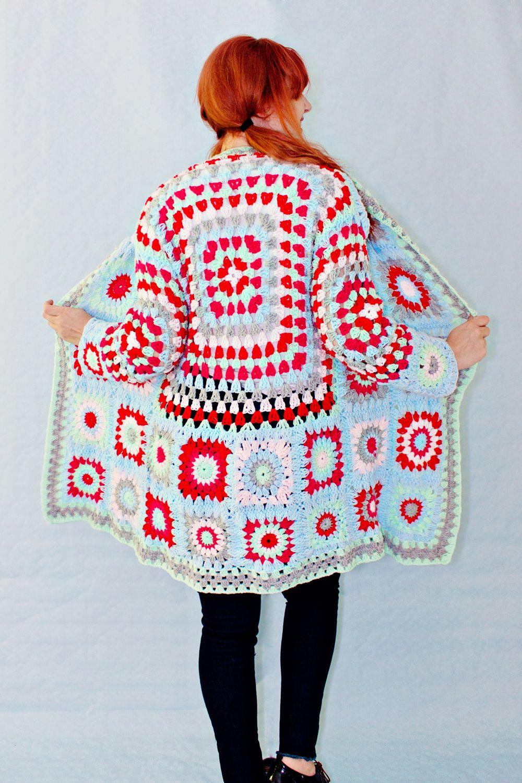 Crochet Diy Knit Yarn Crafts Pinterest Trippy Hippy Afghan Pattern Kingdom Granny Square Sweater Knitting