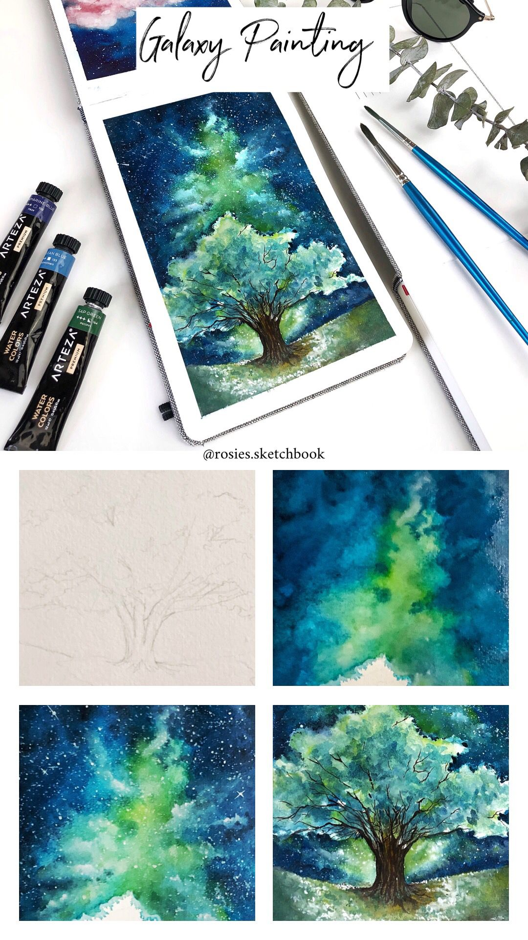 Mini Galaxy Painting Tutorial With Step By Step Process Photos
