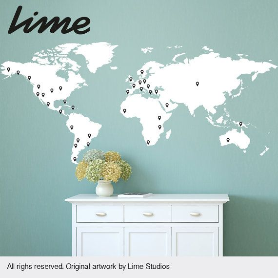 World map wall decal with 60 marking pins world map by limedecals world map wall decal with 60 marking pins world map by limedecals gumiabroncs
