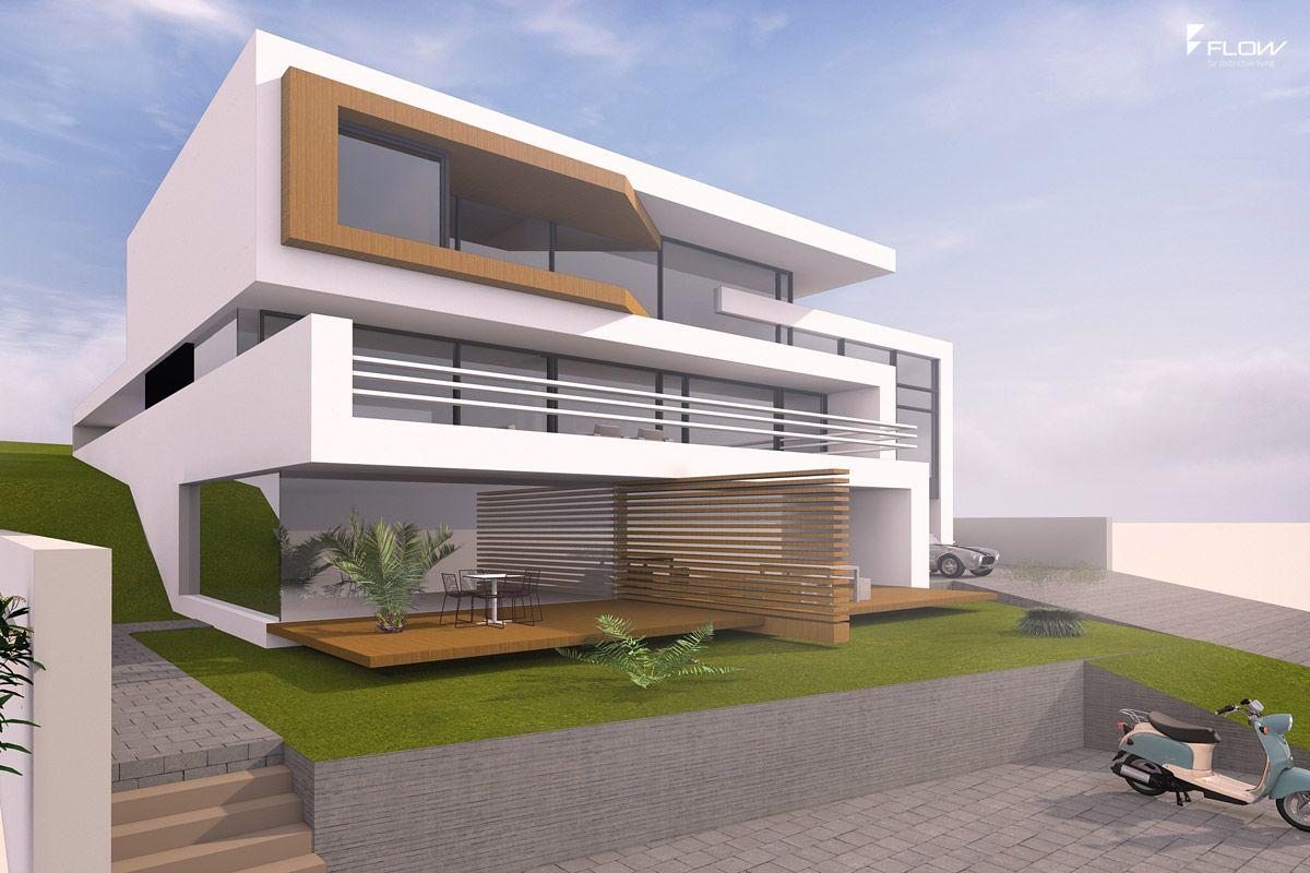 Moderne villa am hang mit 2 5 geschossen und flachdach in for Moderne villen grundriss