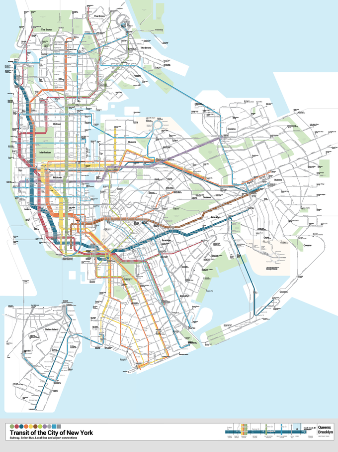 Second Avenue Subway Map New York City.Unified Bullet Map Denaro Has Colorized The Subway And Sbs Routes