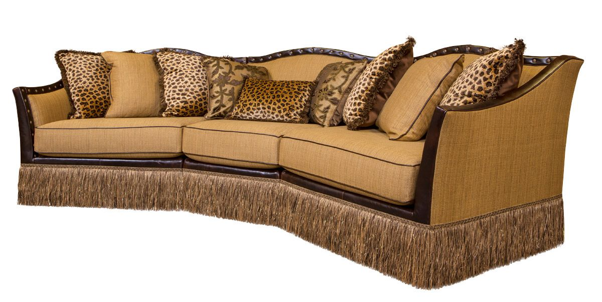 Transitional Style Sofa With Leather, Exotic Animal Hides U0026 Old Wolrd Fabics