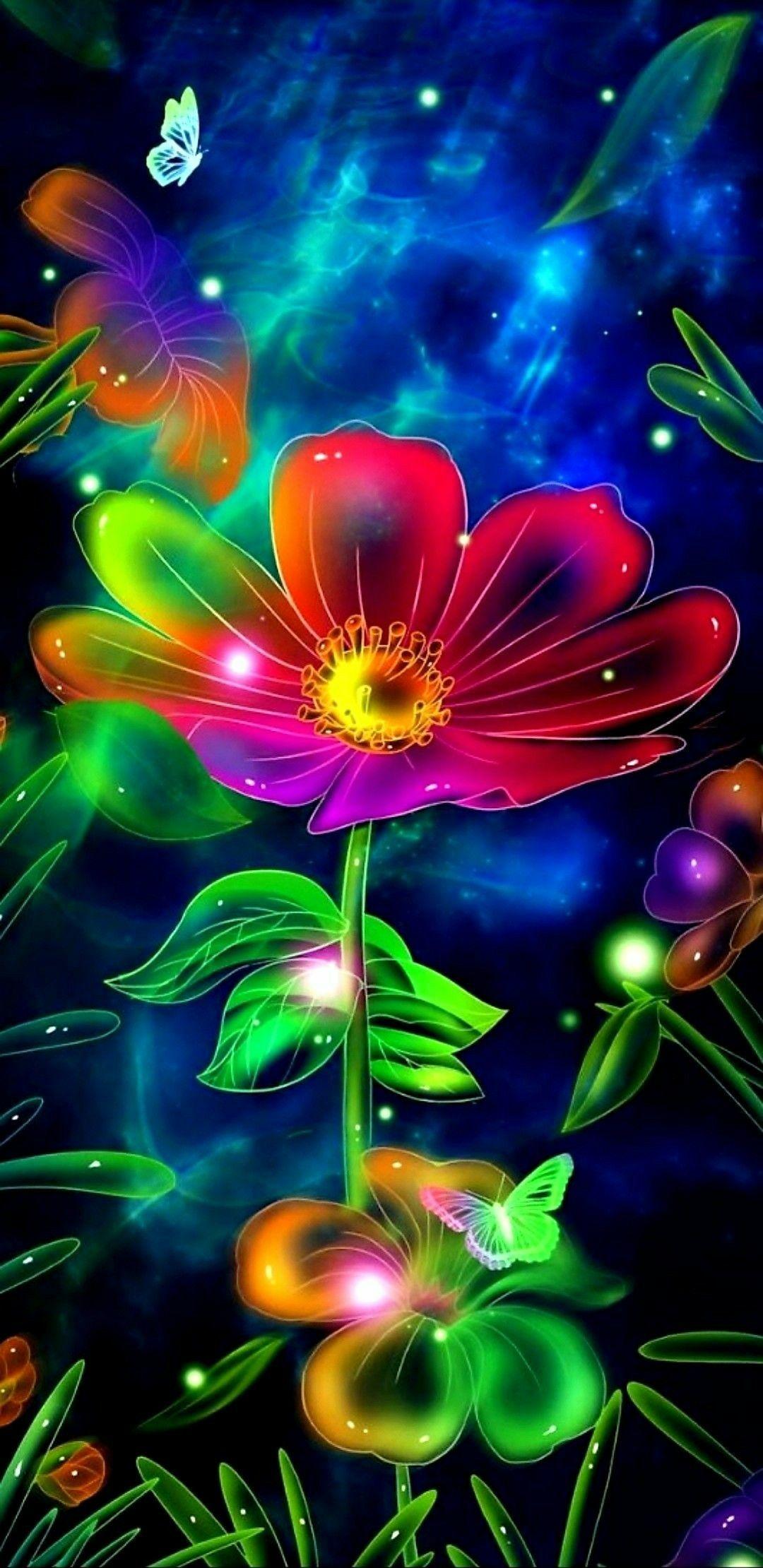 Neon Flower Abstract Art Images Flower Phone Wallpaper Neon Flowers