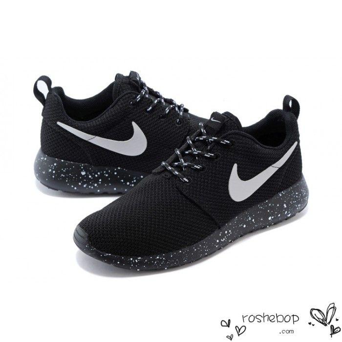 15ee42eccc37 Nike Roshe Run Mesh Ink Spot Speckled Black Shoes Mens Womens ...