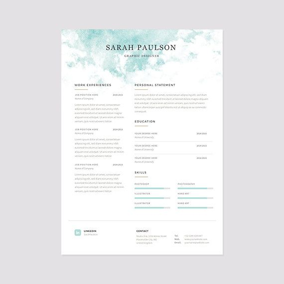 Resume Template Instant Download Cover Letter Clouds by papernoon - cover letter download