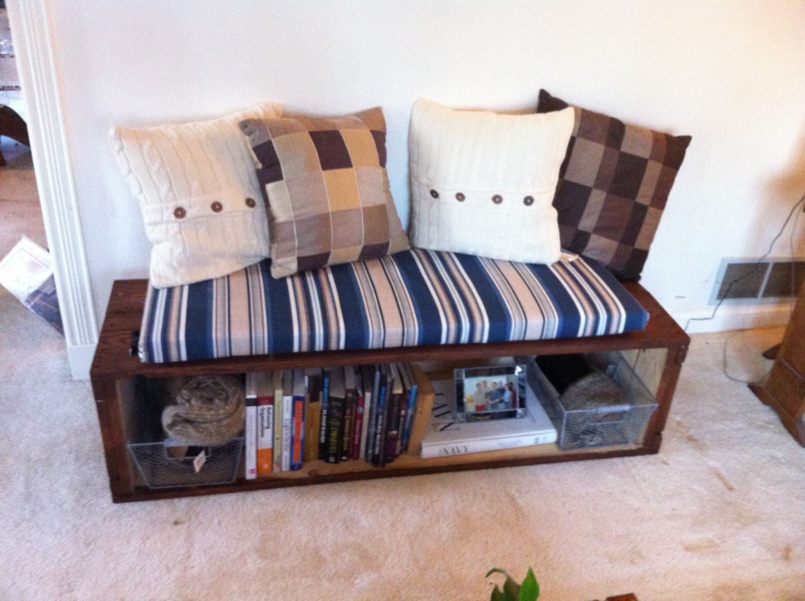 This cute little book bench is a recycled parts box from a machine shop. A few h...