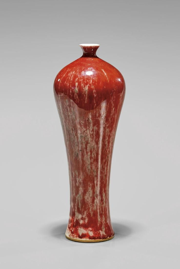 Antique Chinese Peach Bloom Glazed Porcelain Vase Of Graceful And Slender Elongated Meiping Form The Mostly Red Glaz Chinese Pottery Red Vases Porcelain Vase