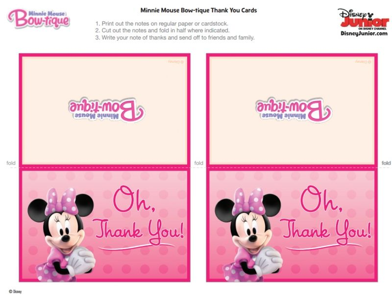 Free Minnie Mouse Party Thank You Cards Free Printables Party Minnie Mouse Free Minnie Mouse Party Minnie Mouse Theme Party Minnie Mouse Clubhouse