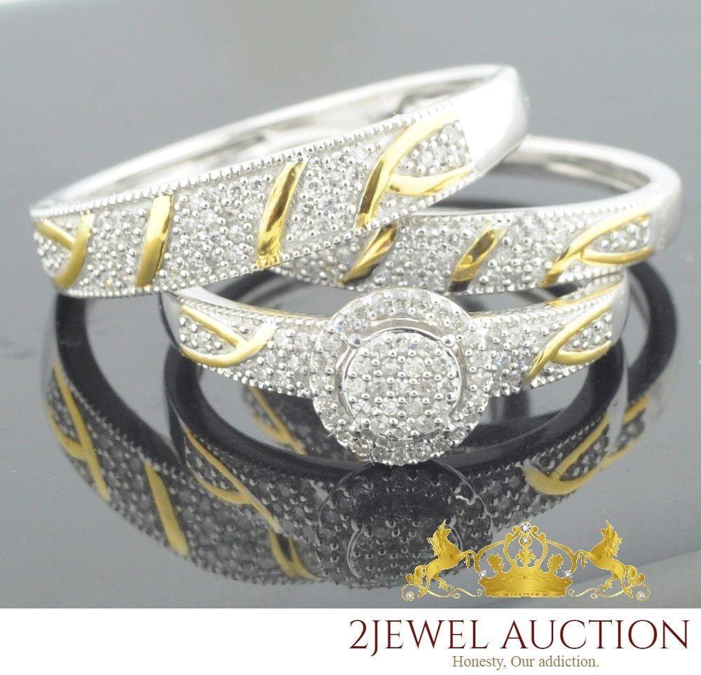 10k White Gold Trio Diamond Engagement Ring Matching Wedding Her Bridal Band Set