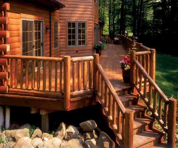 Your Guide To Beautifying Decks Railing Furniture And Other Exterior Home Details Exterior Wood Stain Exterior Wood Log Homes Exterior