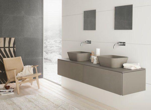 salle-de-bain-moderne-minimaliste-double-lavabo-gris-blanc-miroir - Salle De Bain Moderne Grise
