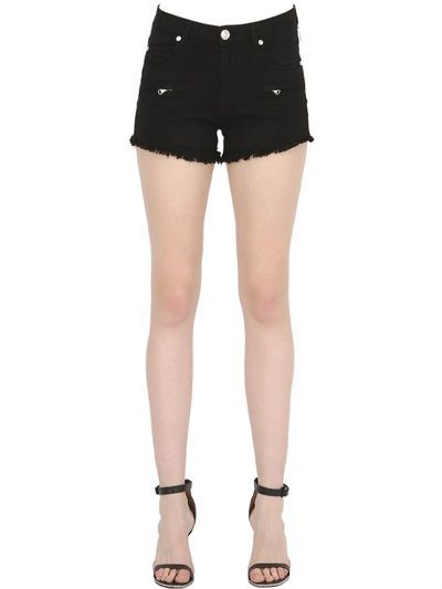 PIERRE BALMAIN Frayed Stretch Cotton Denim Shorts, Black. #pierrebalmain #cloth #shorts