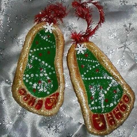 Salt Dough Footprint Christmas Trees Christmas Ornaments