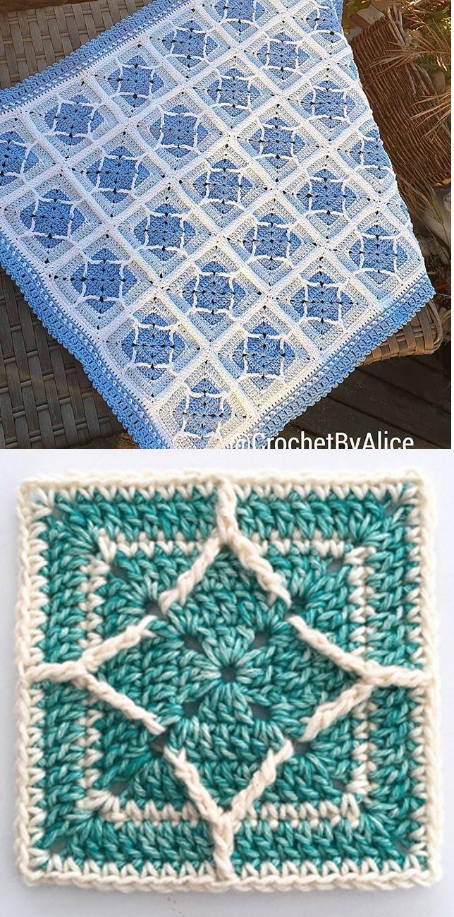 Free Crochet Pattern for a Northern Diamond Square #grannysquares