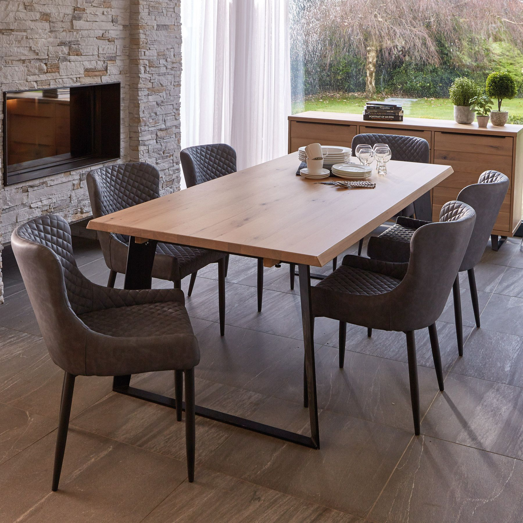 Weldon Dining Table Extension Leaf 6 Toby Brown Dining Chairs