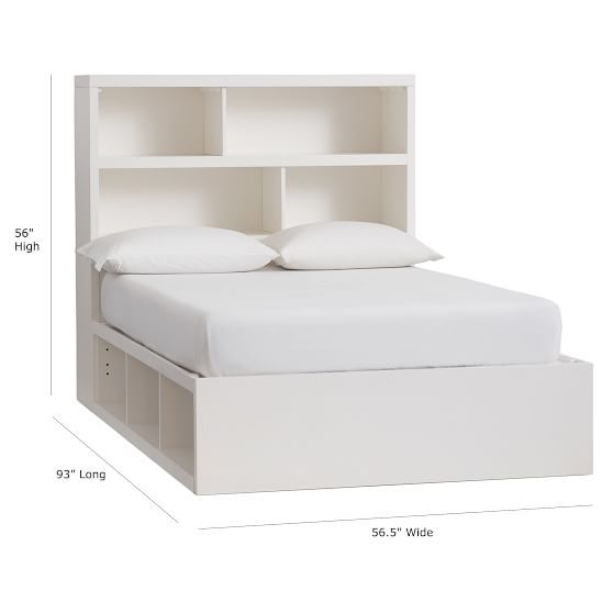 Store-It 6-Cubby Bed + Storage Headboard Set, Full, White Oak images