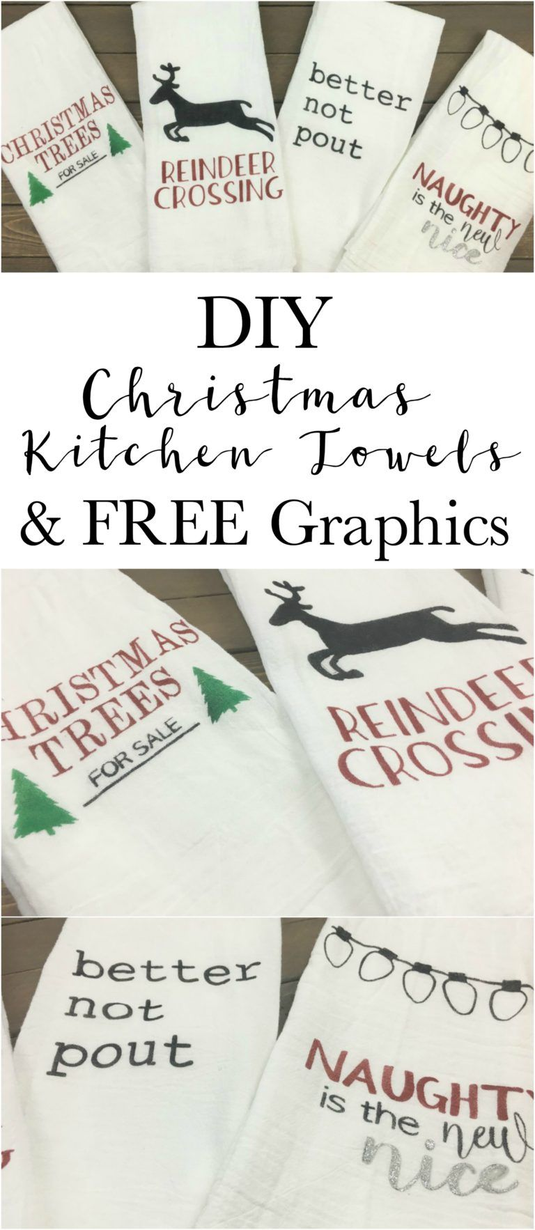 DIY Stenciled Christmas Kitchen Towels with FREE Images | Pinterest ...