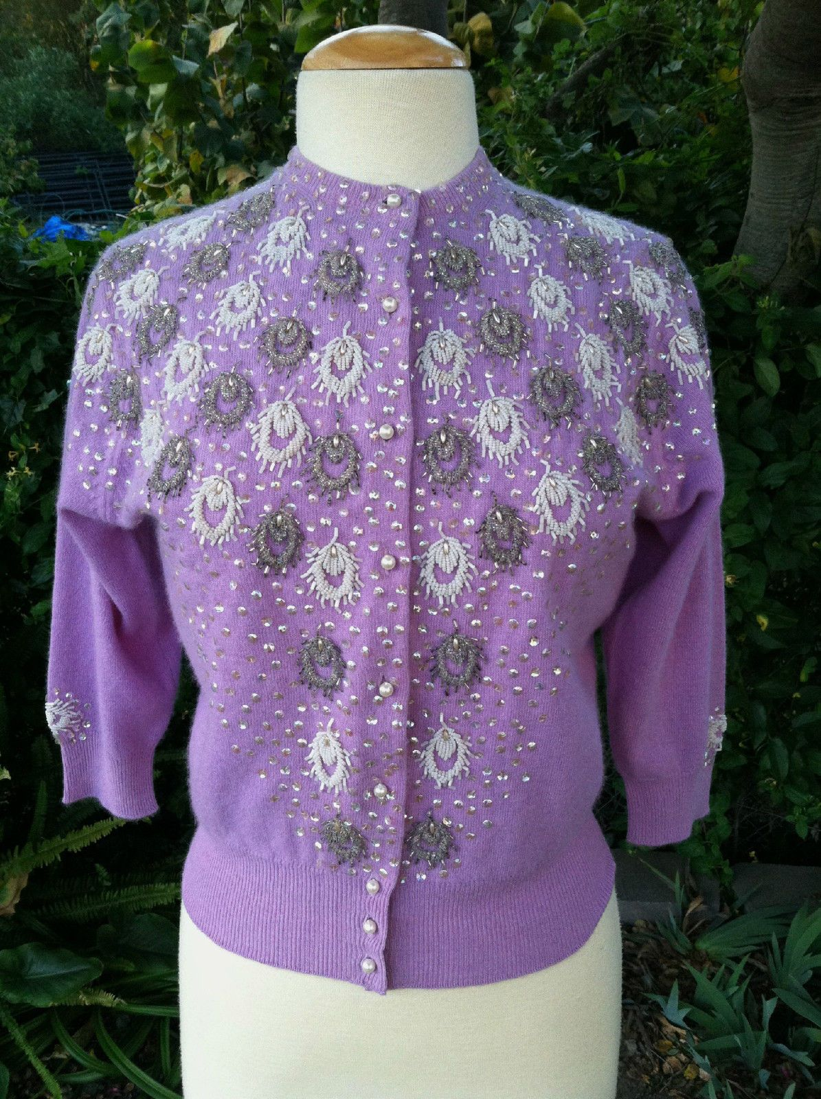 30c0600144 Vintage 1950 s Lavender Beaded Lambs Wool Pin Up Cardigan Women s Sweater