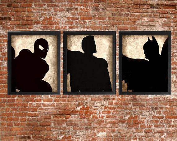 Superhero Set of 3 - photo prints - Type Poster Wall Art Textured Beige Black Vintage Style Superman Spiderman Batman Nursery Instant Decor on Etsy, $15.00