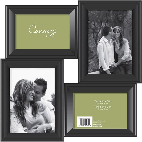 1088443ab27 Canopy Black 4 Opening Collage Frame 2-4X6   2-5X7