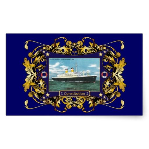Ss Consution Vintage Ocean Liner Rectangle Stickers