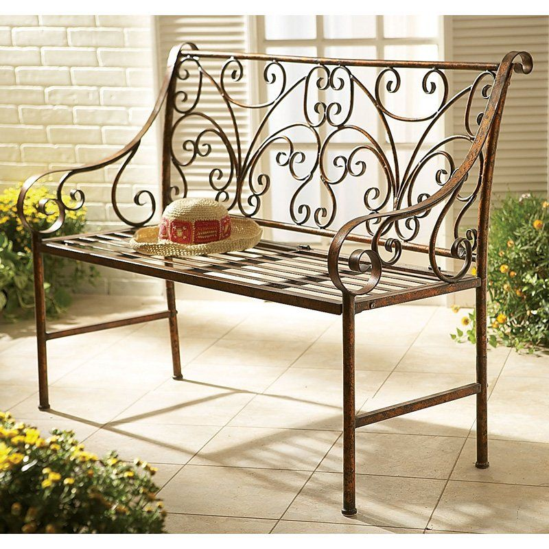 Have To Have It Metal Garden Bench With Scroll Design 299 99