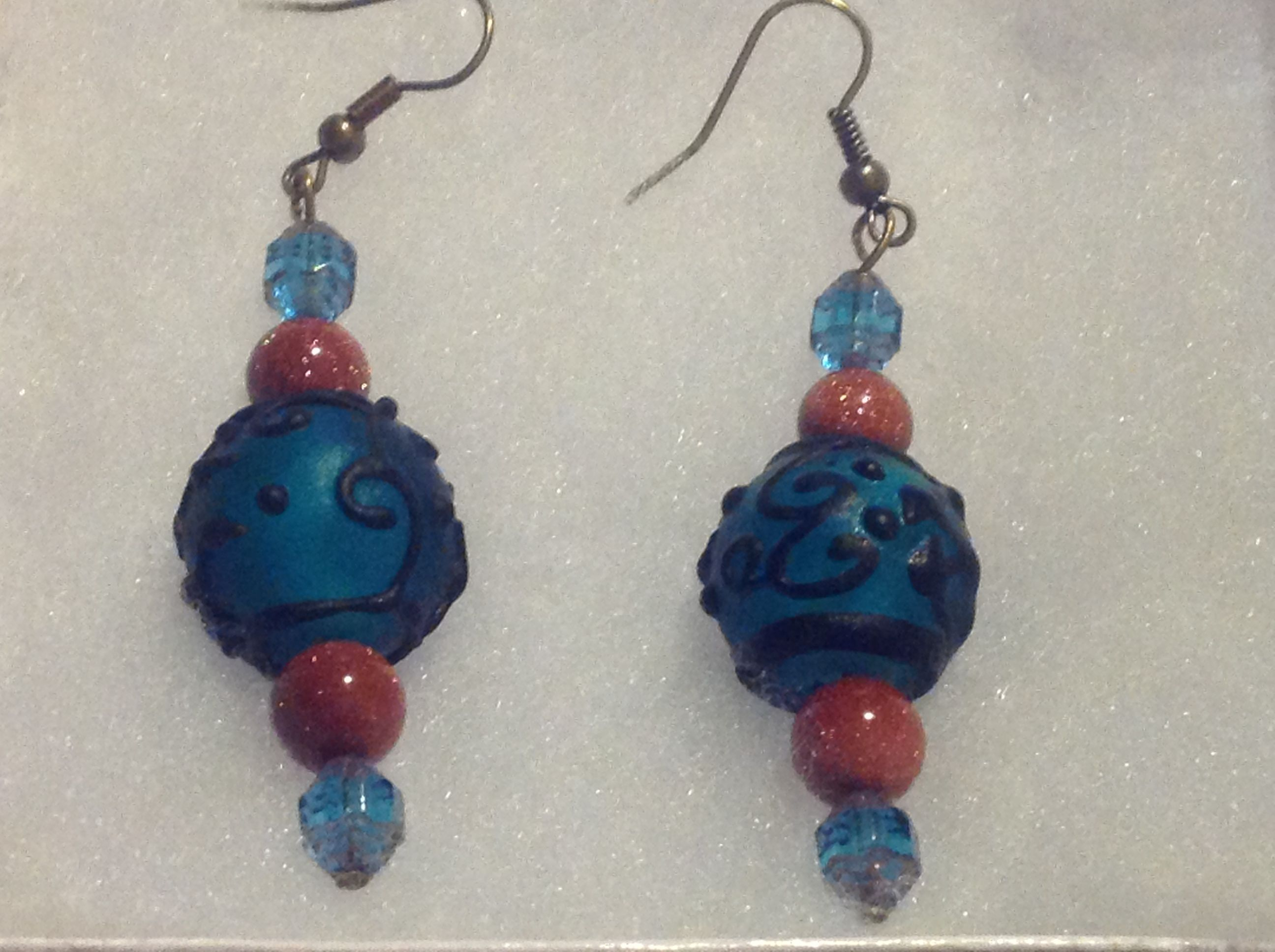blue lampwork with goldstone