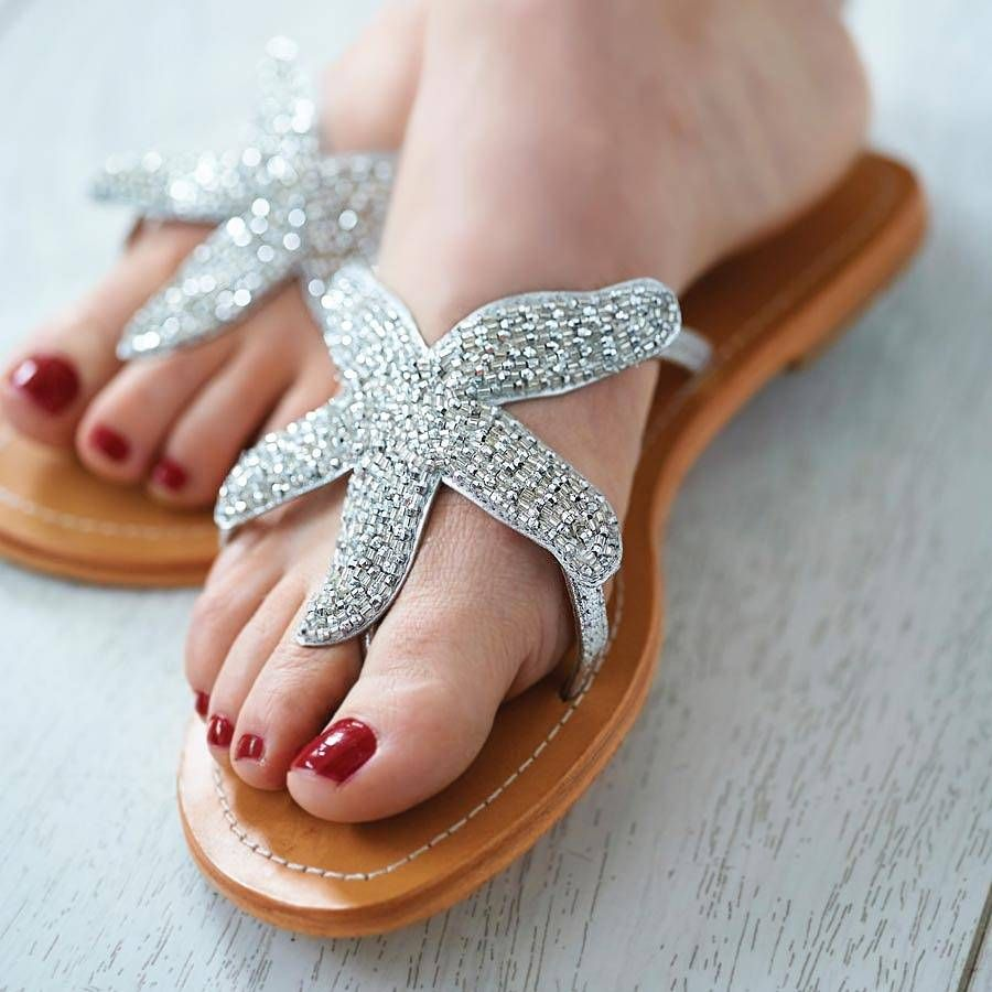 72a1fc254d2 Gold Starfish Beaded Flat Leather Sandals