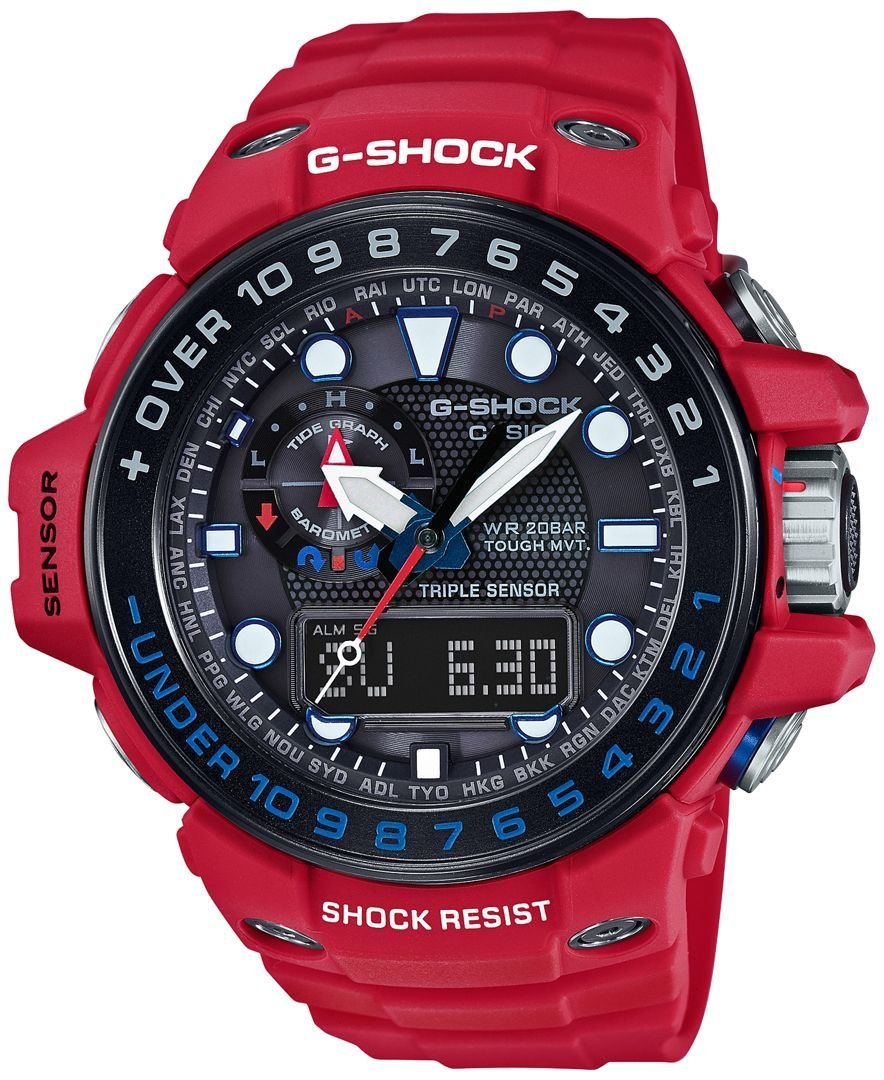 Full of features, this Gulfmaster watch by G-Shock lets you keep perfect time and so much more. | Red resin strap | Rounded red stainless steel case, 45x56mm, with black bezel | Black dial with white