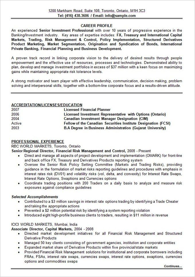 Investment Representative Sample Resume 10 Years Experience  Pinterest  Resume Format Sample Resume And .