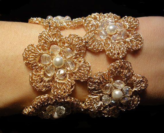 Gold crocheted wire lace filigree bracelet with crystal by GlamCro