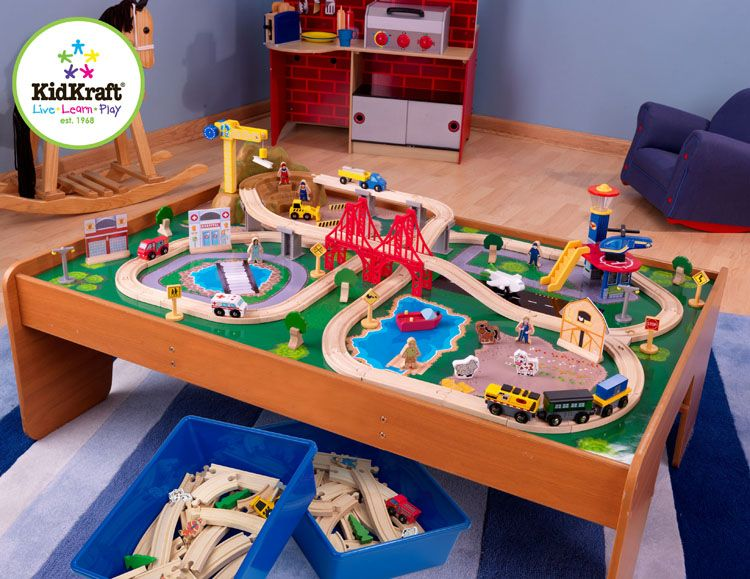 Ride Around Town Train Set with Table. 100 colorful pieces. Compatible with Thomas u0026 Friends® wooden train sets and Brio® wooden train sets . & Ride Around Town Train Set with Table. 100 colorful pieces ...