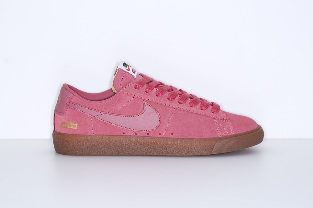 149b0f781a2 Zapatillas deportivas rosas Supreme x Nike Sb Blazer Low
