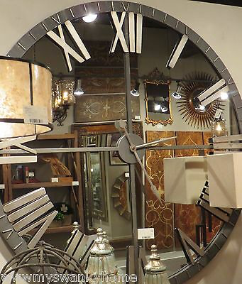Details About Xl 60 Mirrored Round Wall Clock Oversize Modern