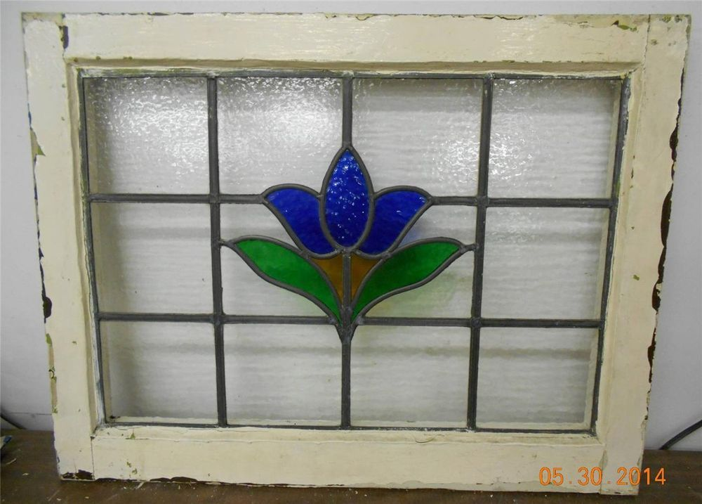 LARGE OLD ENGLISH LEADED STAINED GLASS WINDOW Pretty Blue Flower ...