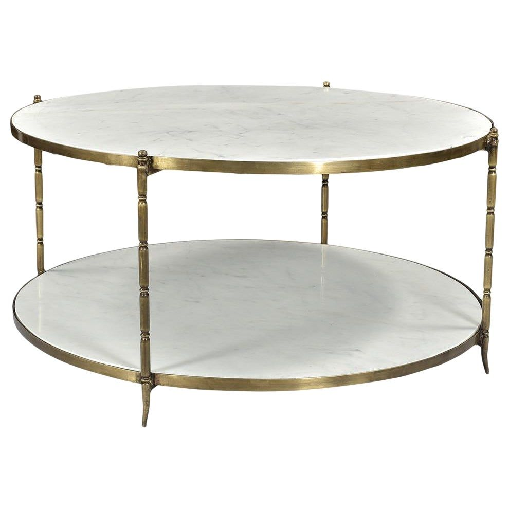 Beautiful Modern White Marble Round Coffee Table With Brushed Brass Finish Legs Supporting Two Tiers For Display Each Beautifully Unique With Variations In Nat