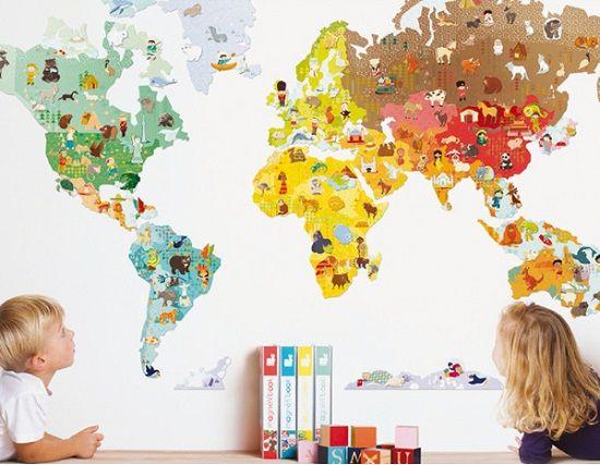 Vinilos mapamundi for Vinilo habitacion infantil