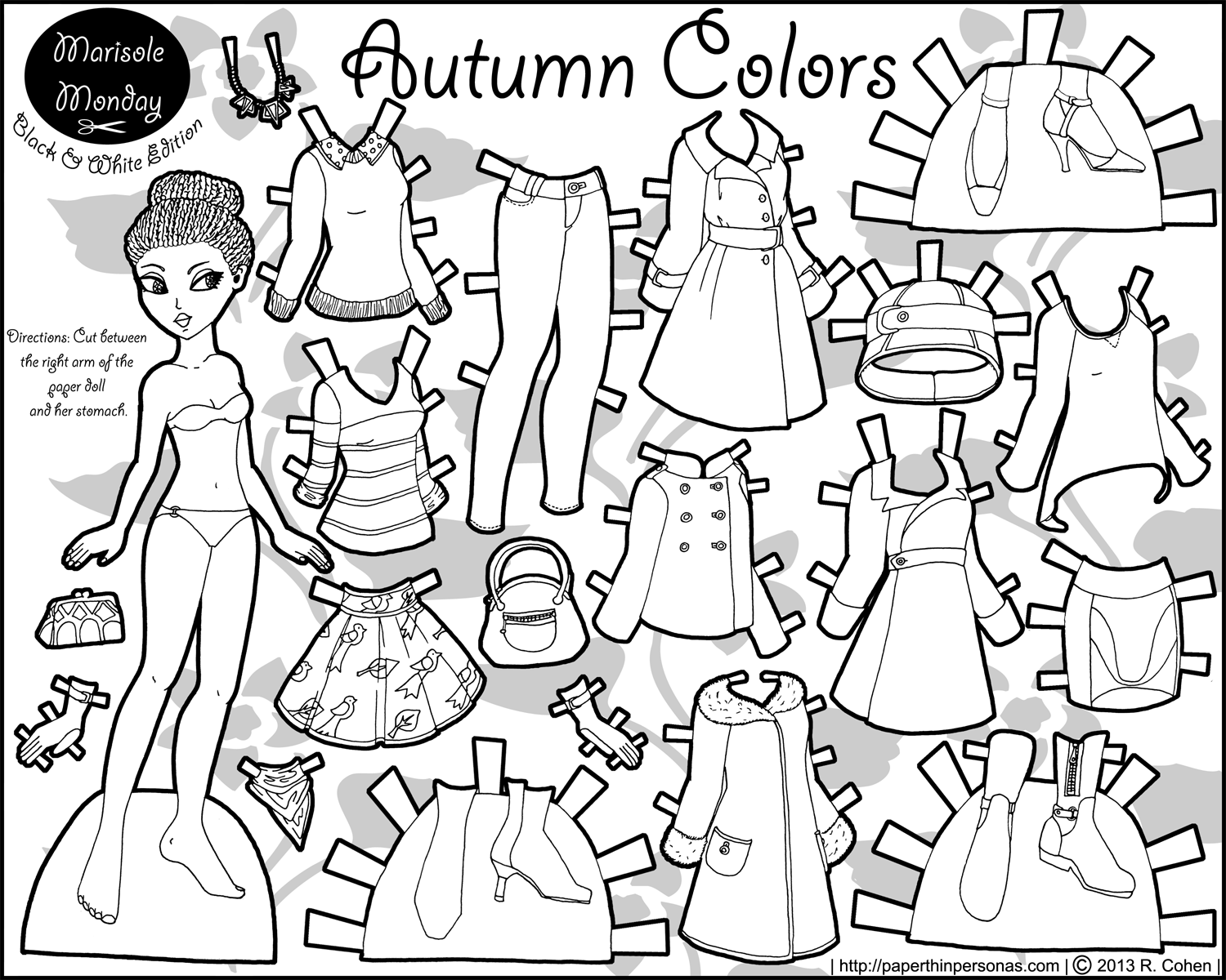 Marisole Monday Paper Dolls In Black And White