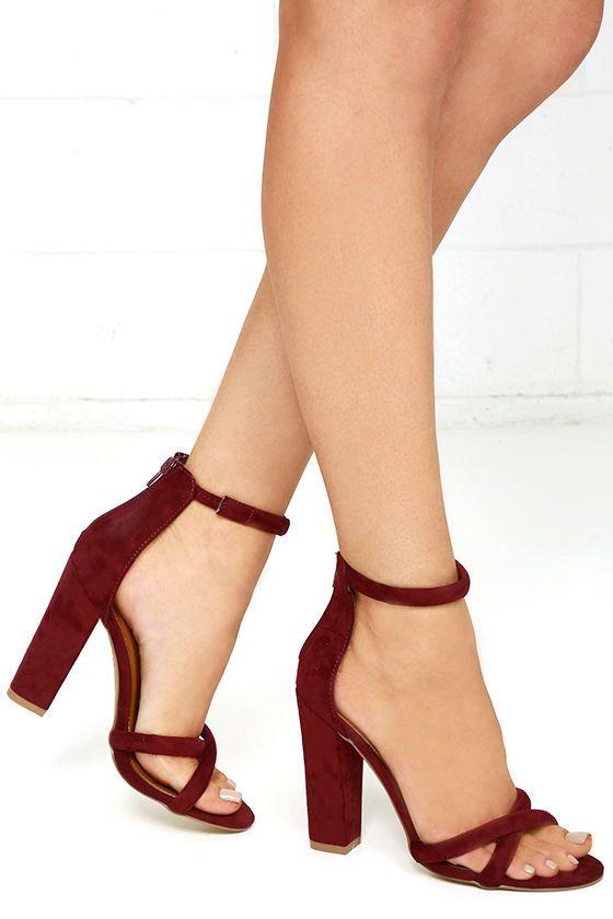 6ac13489c2f Show Biz Burgundy Suede Ankle Strap Heels in 2019