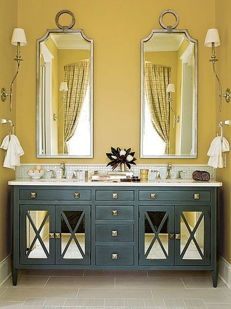 37 Sunny Yellow Bathroom Design Ideas | DigsDigs - Mustard yellow ...