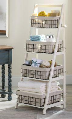 Cream Wood Metal Ladder Shelf Home Basket Shelves Shelves