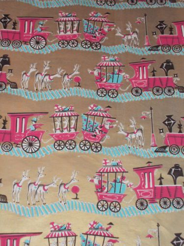VTG CHRISTMAS WRAPPING PAPER GIFT WRAP MID CENTURY DENNISON TRAIN ON GOLD