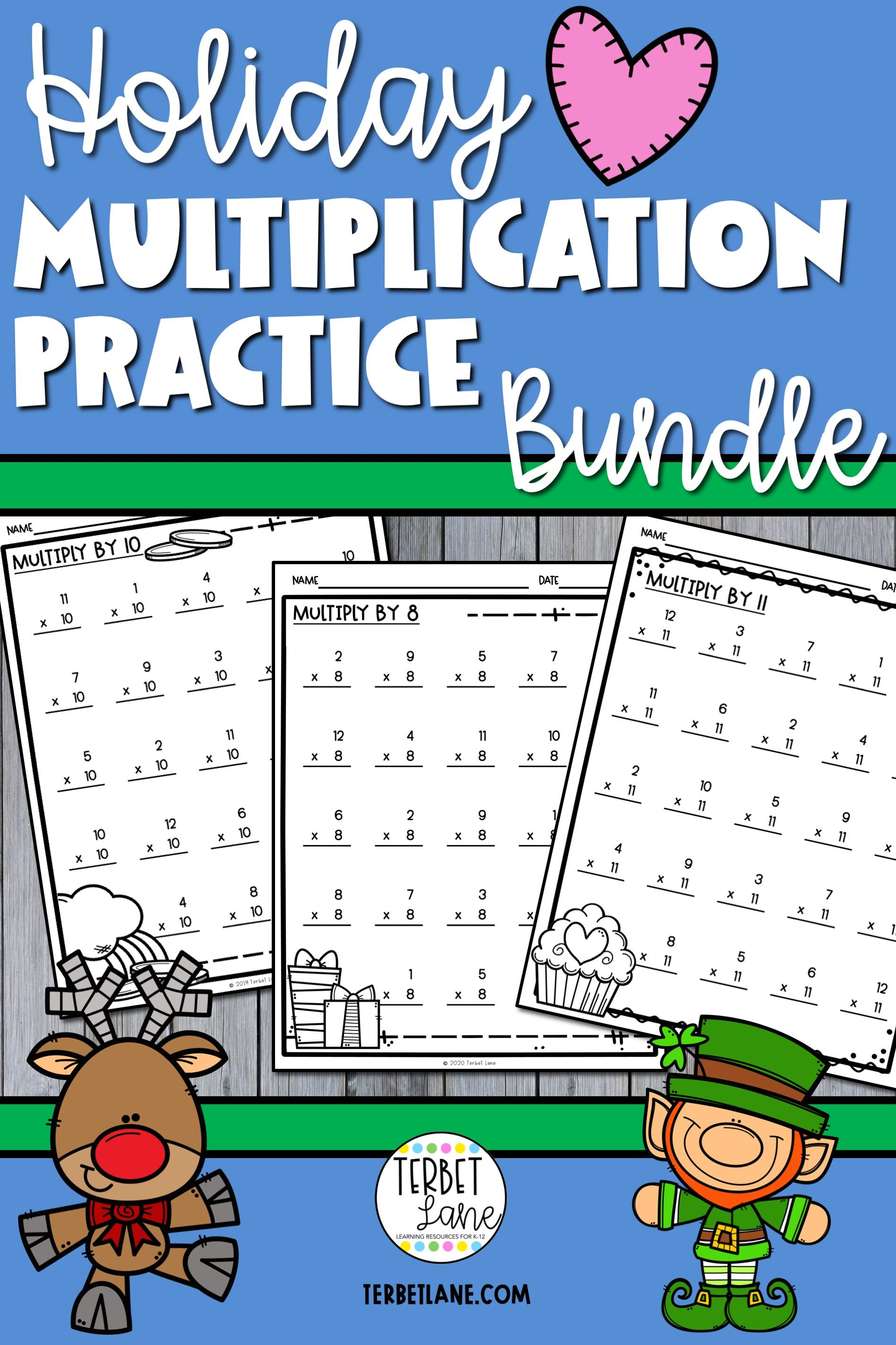Holiday Multiplication Worksheet Bundle