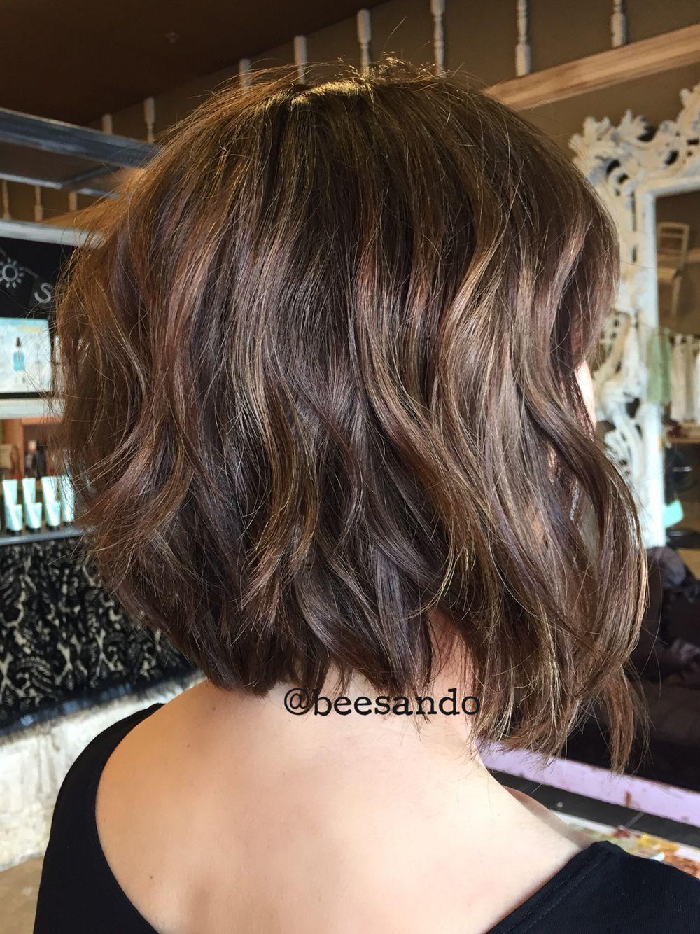 Brunette balayage razor bob  Haircut for thick hair, Wavy bob