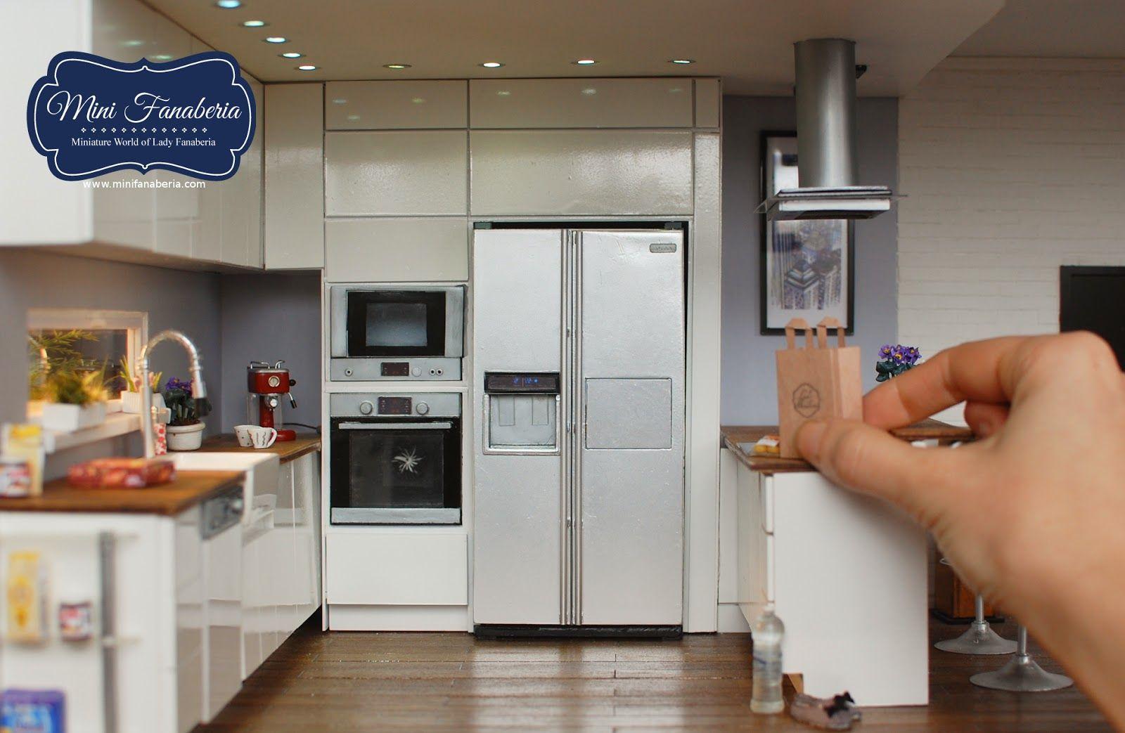 Miniaturowy Swiat Lady Fanaberii Miniaturowa Lodowka Handmade Refrigerator 1 12 Miniature Kitchen Dollhouse Miniatures Kitchen Barbie Kitchen
