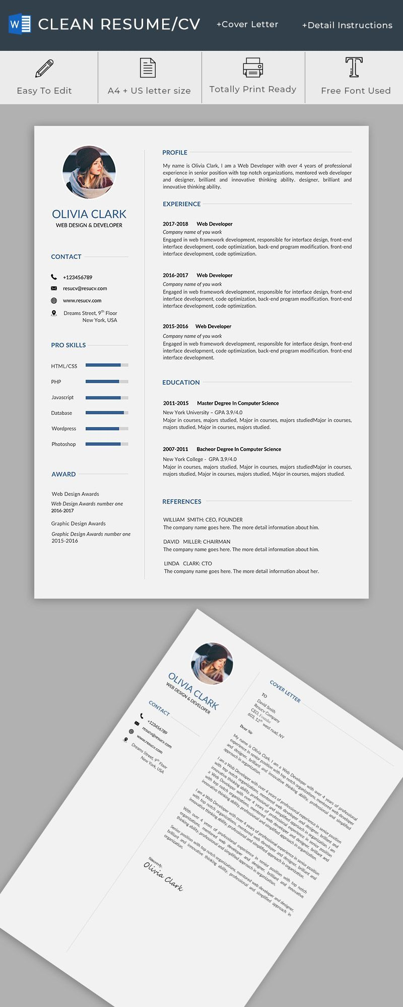 A Clean Resume Cv Templates For You Resumes Templates Doctor Resume Templates Web Designer Resume Business Resume Template Resume Design Creative Cv Template